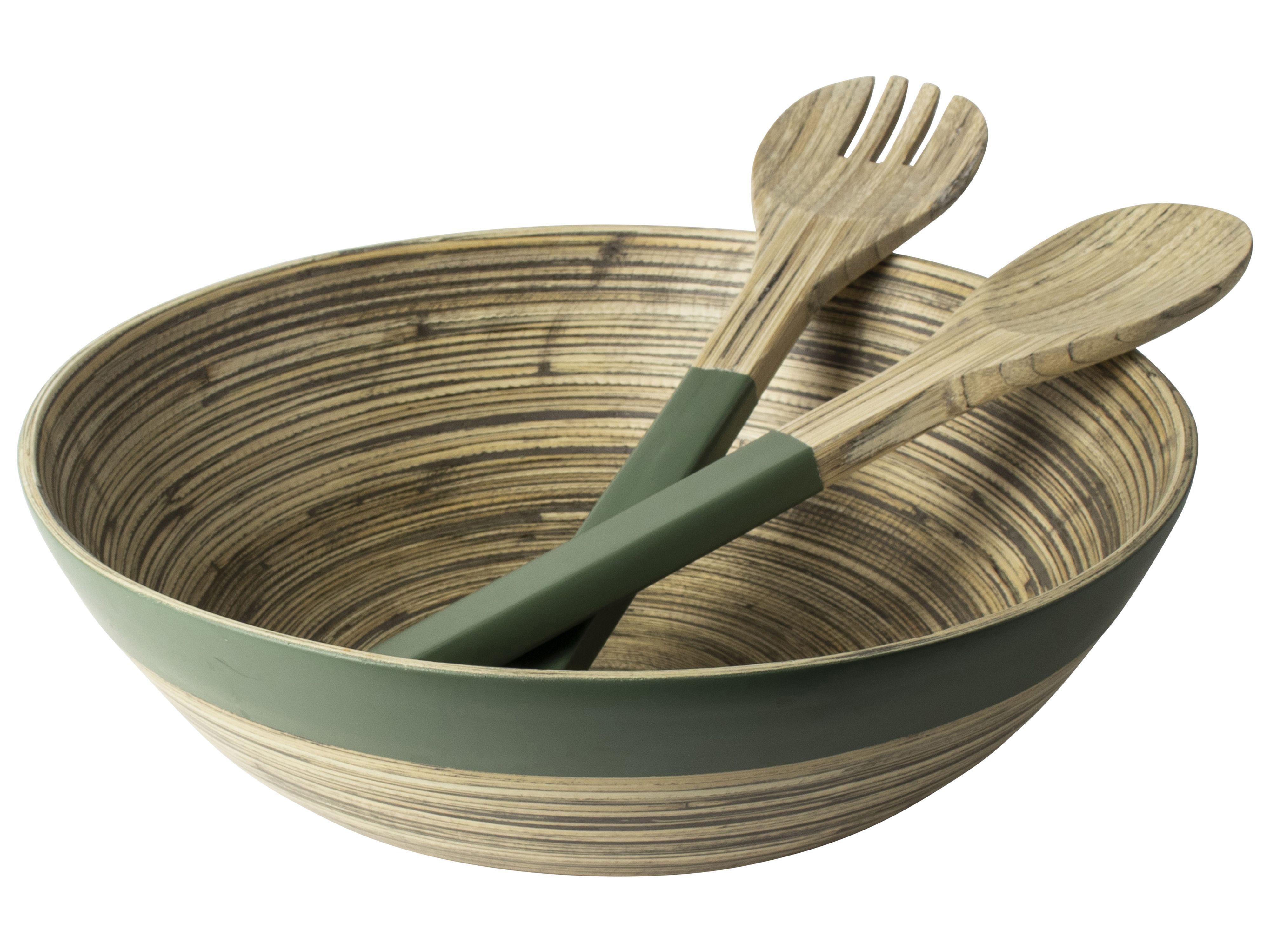 Gusta Schaal30cm+Saladecouvert Bamboe-gr