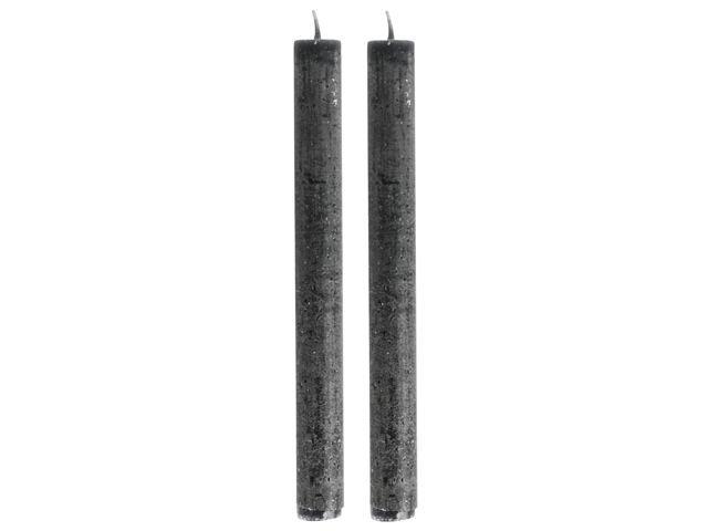 Gusta Set van 2 Dinerkaarsen 24,5cm Zwart